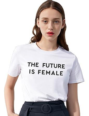 a39ee727d14c4 Femme Shirt Feminist T-Shirt Imprimé The Futere is Female Tee Shirt Coton  Blouse Manches Courtes Col Rond Mode Women