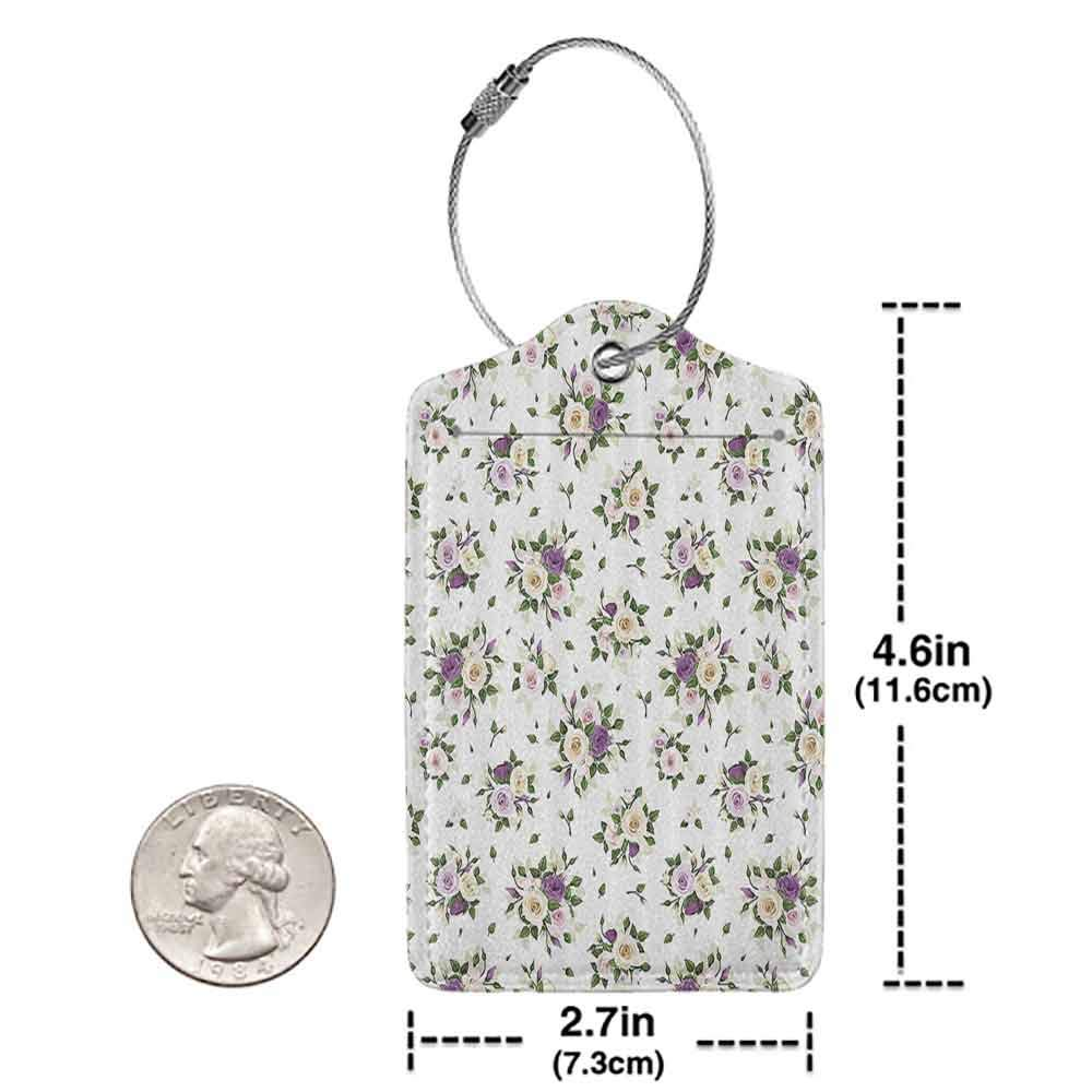 Multi-patterned luggage tag Roses Decorations Collection Roses Rosebuds and Lisianthus Flower Symbol of Love Baroque Style Double-sided printing Purple Yellow Green W2.7 x L4.6