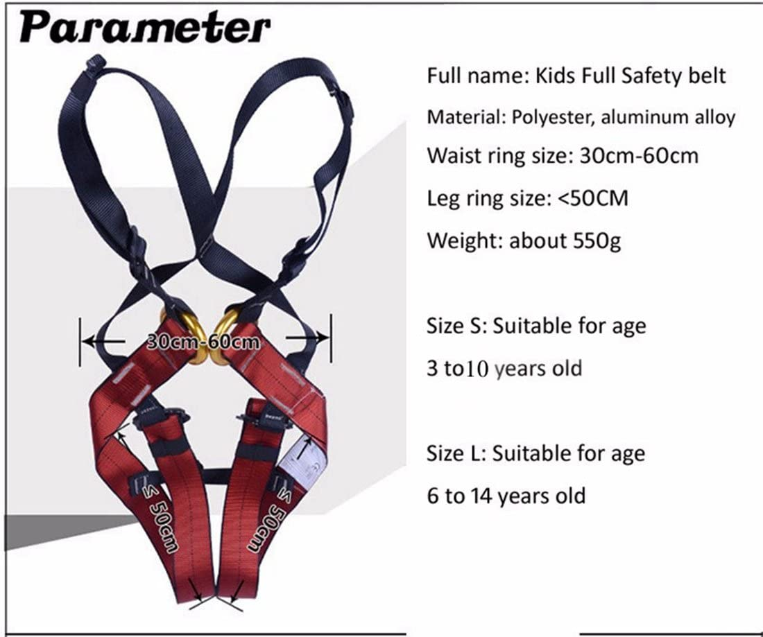Dometool Kids' Full Body Harness, Outdoor Kids Safety Harness Climbing Equipment Waist Solid Safety Belt