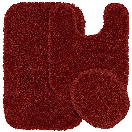 Garland Rug 3-Piece Serendipity Shaggy Washable Nylon Bathroom Rug Set, Chili Pepper Red
