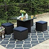 PHI VILLA 5 Piece Patio Sectional Conversation Sets Rattan Outdoor Furniture Dining Set, Support 300 lbs