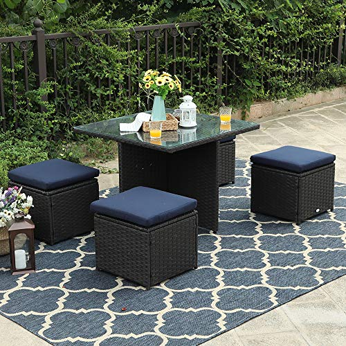 PHI VILLA 5 Piece Patio Sectional Conversation Sets Rattan Outdoor Furniture Dining Set, Support 300 lbs For Sale