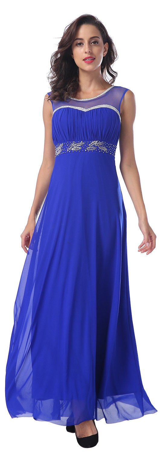 Conail Coco Women's Tulle Beading A-Line Bridesmaid Prom Dresses Long Cocktail Evening Gowns (Large, 004Blue)