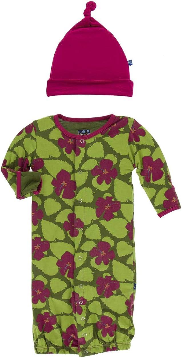 KicKee Pants Print Layette Gown Converter /& Knot Hat Set