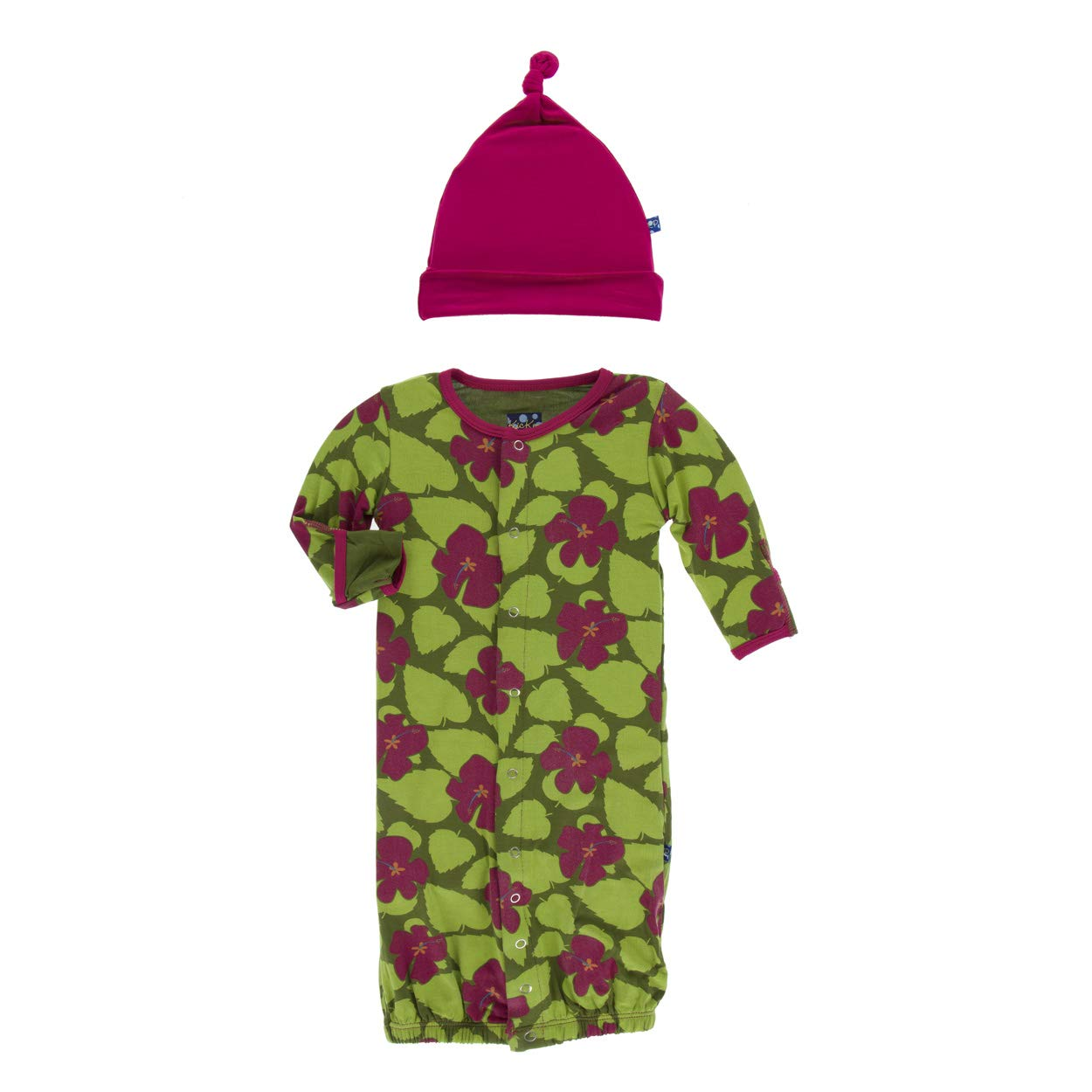 KicKee Pants Print Gown Converter /& Knot Hat Set Paleontology Collection
