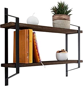 Decorative 2-Tier Floating Shelves – Rustic Wall Storage Made of Sturdy Paulownia Wood w/ Coated Steel Brackets – Wooden Shelves for Bathroom, Living Room, Kitchen & More - Brown