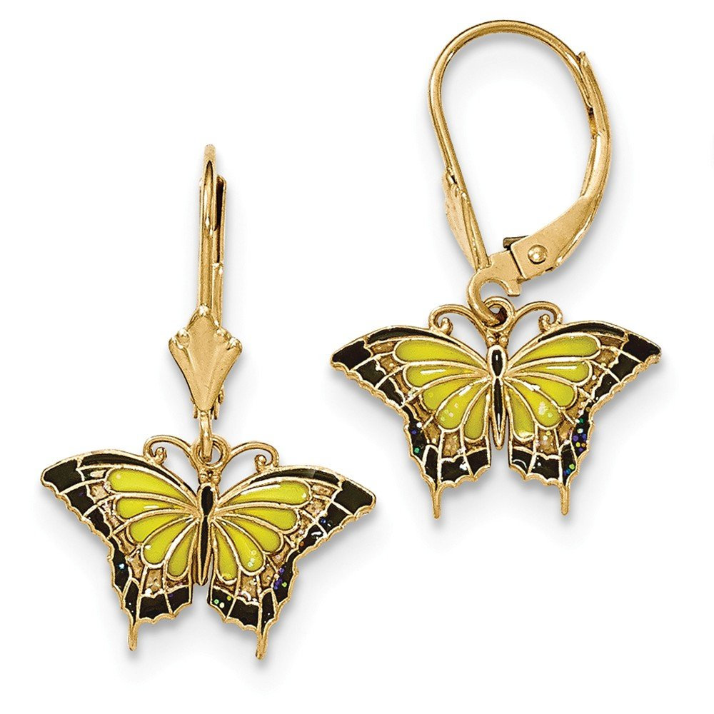 14K Gold Butterfly with Yellow Stained Glass Acrylic Wings Leverback Earrings by CoutureJewelers