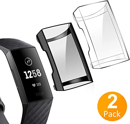 Soft Slim Full-Around Protective Fitbit Charge 3 Case Cover for Fitbit Charge 3 and Fitbit Charge 3 SE YiJYi Compatible with Fitbit Charge 3 Screen Protector