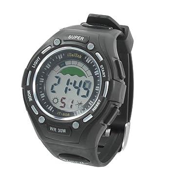 El hombre del dial redondo de la caja ajustable Cronómetro Band Reloj despertador del reloj del