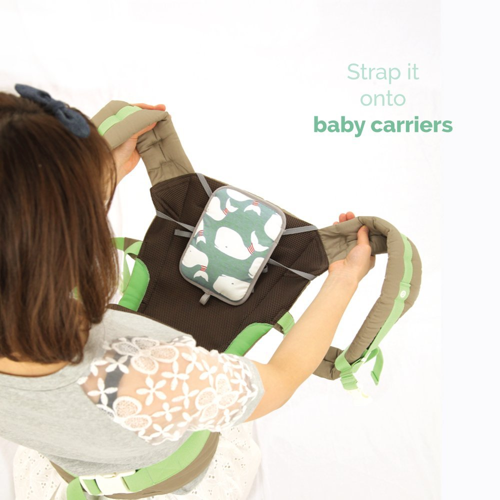 Lucky Baby\'s Stroller, Baby Carrier & Car Seat Warmer & Cooler. Use all year to keep Baby Warm in Winter & Cool in Summer. Attaches Effortlessly to anything - or use as a Backpack. Mint Light
