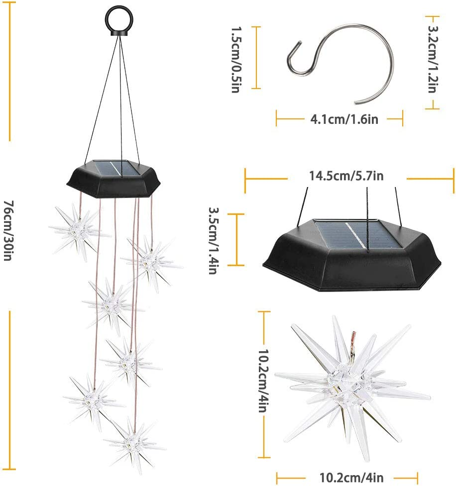 Waterproof Explosion Star Wind Chimes Changing Colors LED Solar ...