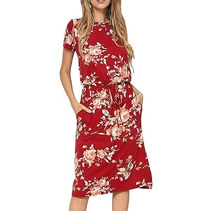 83967723f99db Amazon.com: Toponly Summer Midi Dress Women Bohemia Floral Printed ...