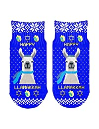 Llama Llamakkah Ugly Hanukkah Sweater All Over Toddler Ankle Socks