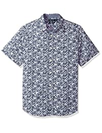 Nautica - Camisa de botones,Short Sleeve Printed Button Down Shirt, Hombres