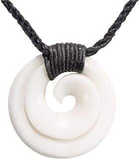 81stgeneration Collana Unisex Pendente in Osso Scolpito a Mano Maori Koru Spirale Swirl 16asNNB088