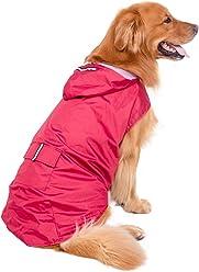 e1e7750235 Fosinz Waterproof Reflective Dog Rain Coat Lightweight Raincoat Jacket  Poncho with Leash Hole for Medium Large