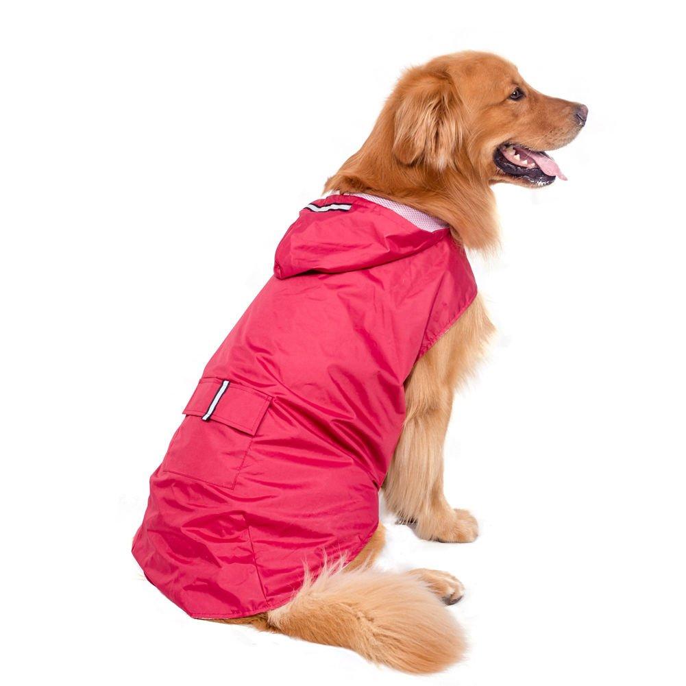 Fosinz Waterproof Reflective Dog Rain Coat Lightweight Raincoat Jacket Poncho with Leash Hole for Medium Large Dogs (5XL(Length:27.56'',Chest:34.65'',Neck:23.23''), Red)