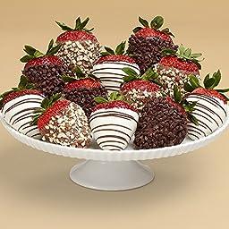 Shari\'s Berries - Full Dozen Gourmet Dipped Fancy Strawberries - 12 Count - Gourmet Baked Good Gifts