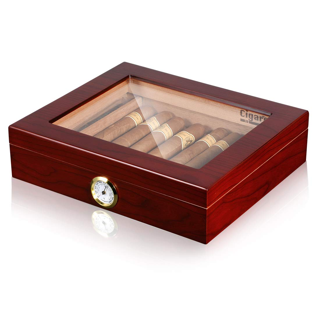 Volenx Desktop Cigar Humidor Case Glasstop Cigar Storage Box, Cherry Finish with Hygrometer and Humidifier Holds 25 Cigars