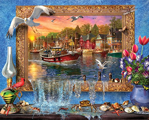 Springbok Puzzles - Seaside Harbor - 1000 Piece Jigsaw Puzzle - Large 24 inches by 30 inches Puzzle - Made in USA - Unique Cut Interlocking Pieces