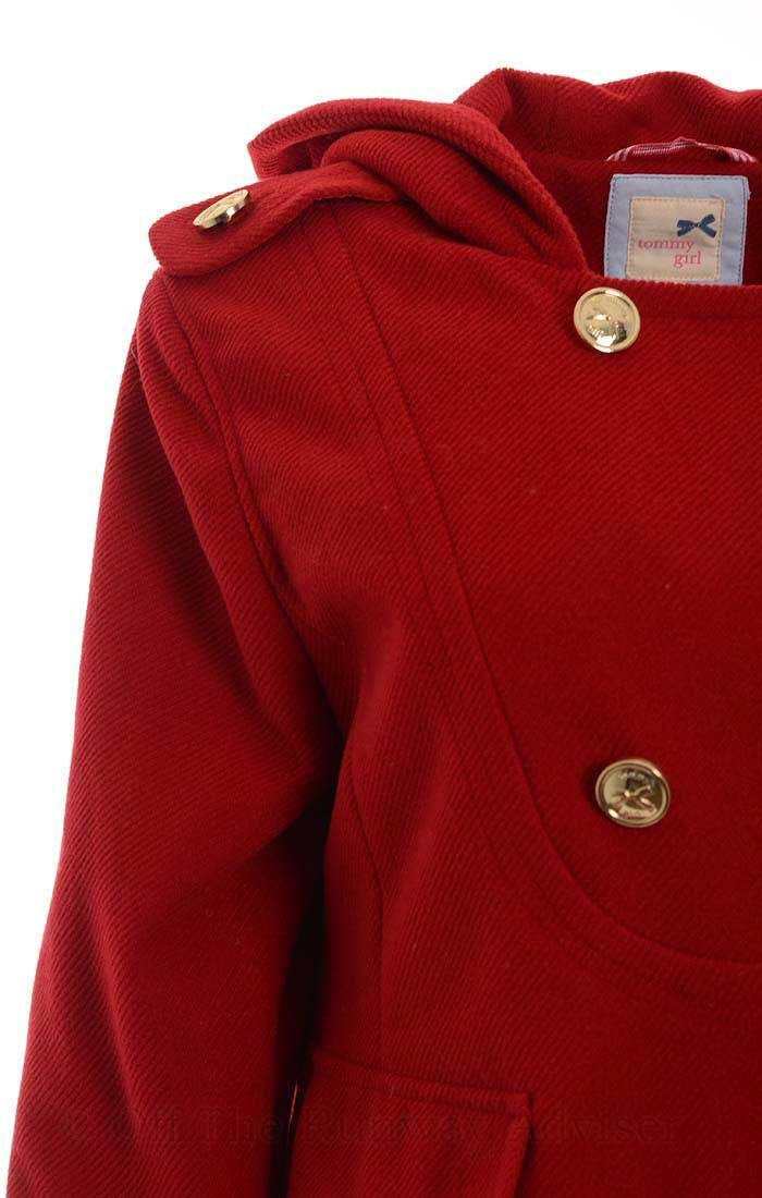 Tommy Girl Juniors Double-Breasted Hooded Trench Coat, Cardinal Red, Juniors Large by Tommy Hilfiger (Image #2)