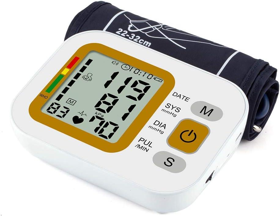 YHML Máquina automática para la presión Arterial, Monitor electrónico de la frecuencia cardíaca para la presión Arterial, con Gran Pantalla LCD Digital, 99 memorias, 22-32CM Boom Cuff, Recargable