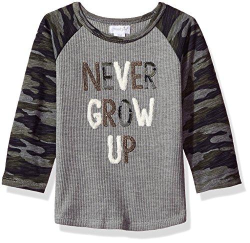 Mud Pie Baby Toddler Boys' Camo Long Sleeve Raglan T-Shirt, Gray, SM/ 12-24 MOS