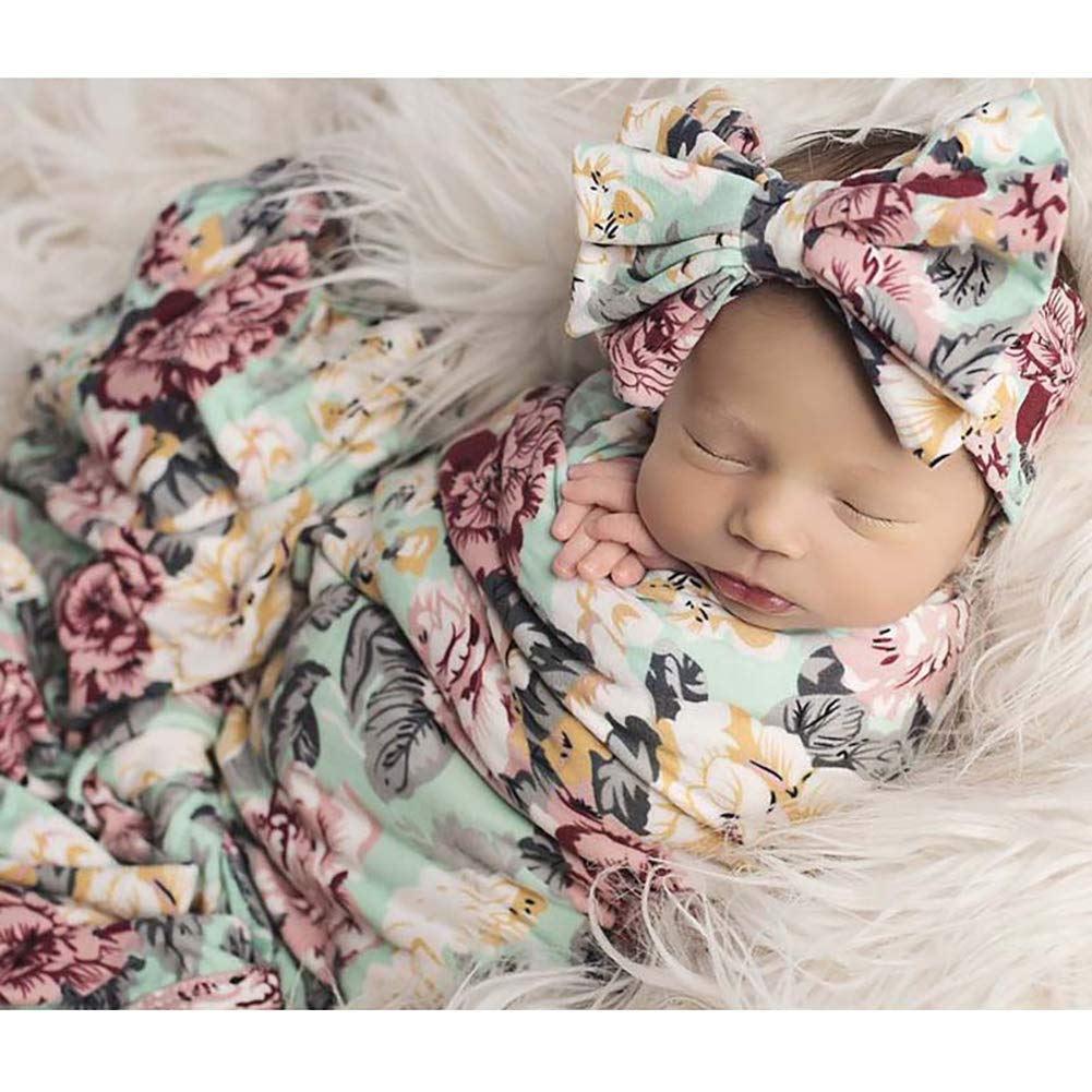 Newborn Receiving Blanket Headband Set Floral Printed Baby Swaddle Blanket Soft Sleeping Wrap Blankets 0-3M Minions Boutique