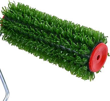 Veronivan Rullo in legno con manico in plastica spazzola artificiale per prato non danneggia il tappeto erboso da strada