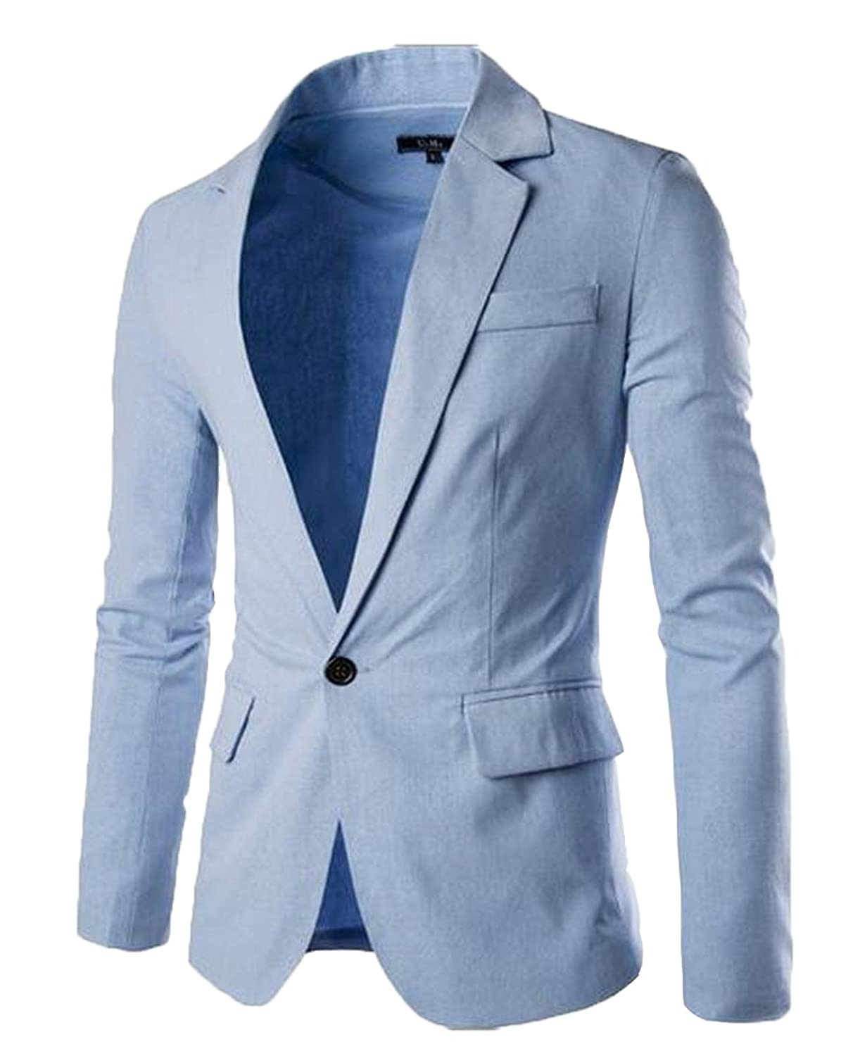 Abetteric Men's Individuality Chic Blouse One Button Suit Jacket Top