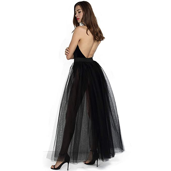 c39f216ff41 Women's 4 Layers Overlay Long Tulle Skirt Overskirt Floor Length Tutu for  Wedding Party (Black