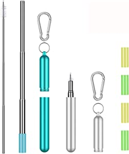 2 Pack Collapsible Reusable Straws Telescopic Stainless Steel Metal Straws with Portable Aluminum Travel Case & Cleaning Brush & Keychain & Silicone Tips for Cold or Hot Drinks (Sliver/Light Blue)
