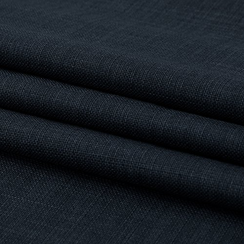 Deconovo Total Navy Blue Blackout Curtains with 3 Pass Energy Efficient Thermal Insulated Coating Faux Linen Room Darkening Grommet Curtains for Bedroom 38 x 45 Inch Length Set of 2 Curtain Panels