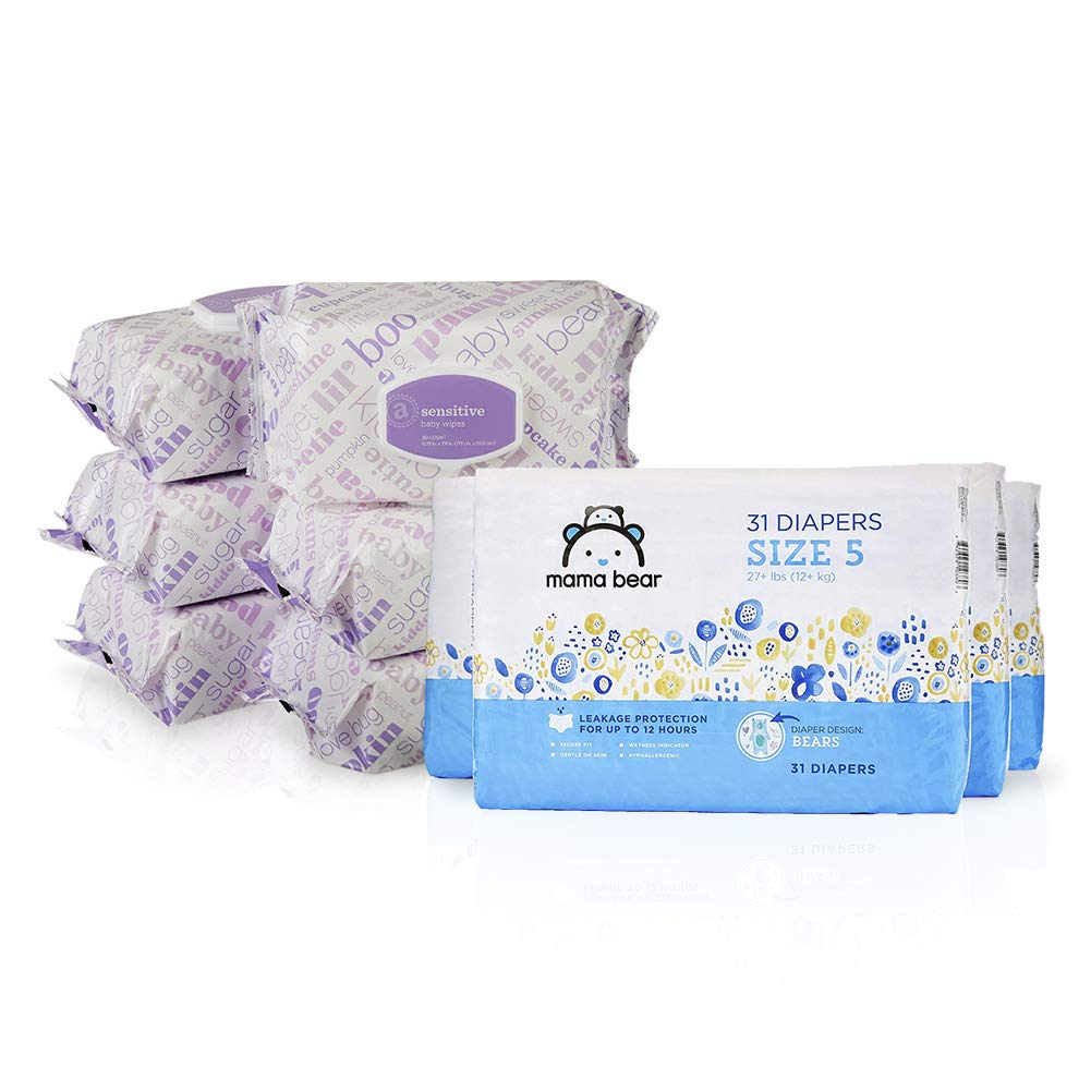 Amazon Brand Bundle - Mama Bear Size 5 Diapers, Bears Print (4 Packs of 31) and Amazon Elements Baby Wipes, Sensitive (6 Flip-Top Packs of 80)