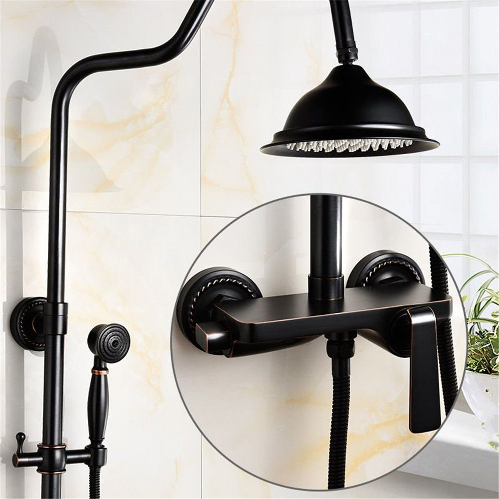 C NewBorn Faucet Kitchen Bathroom Sink Mixer Tap Black Shower Water Tap S Packaged Booster-Style Full Copper Wall Antique-Heated Showers Set B