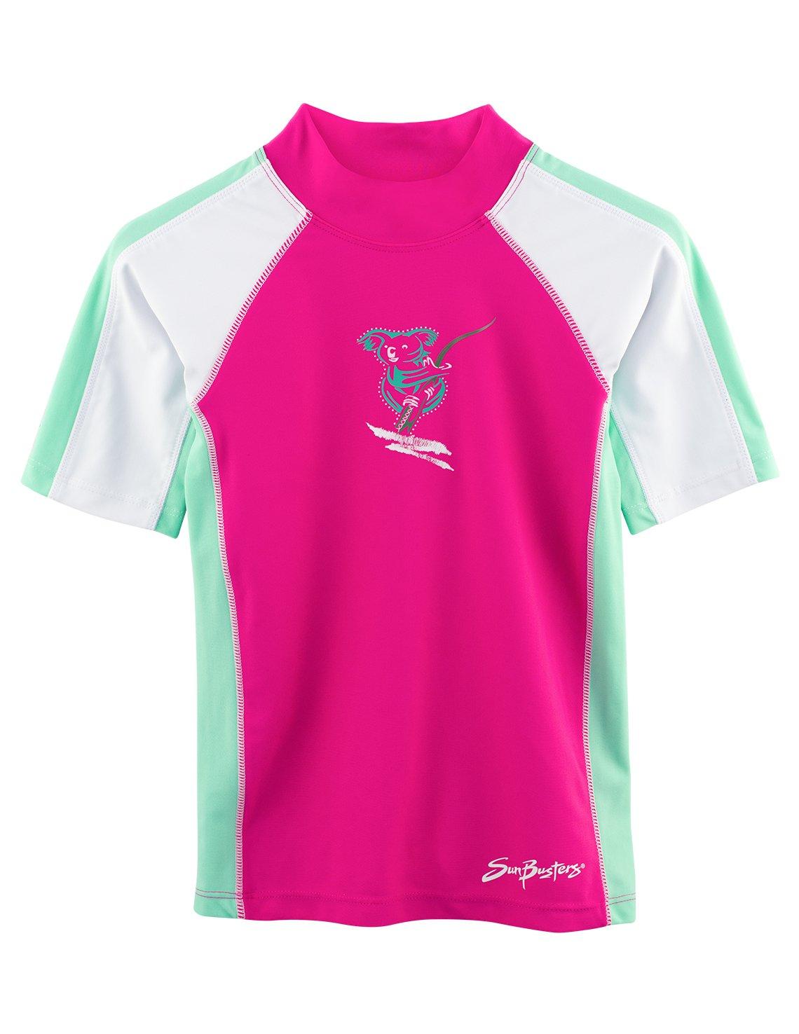 SunBusters Girls Short Sleeve Rash Guard 12 mos - 12 yrs, UPF 50+ Sun Protection