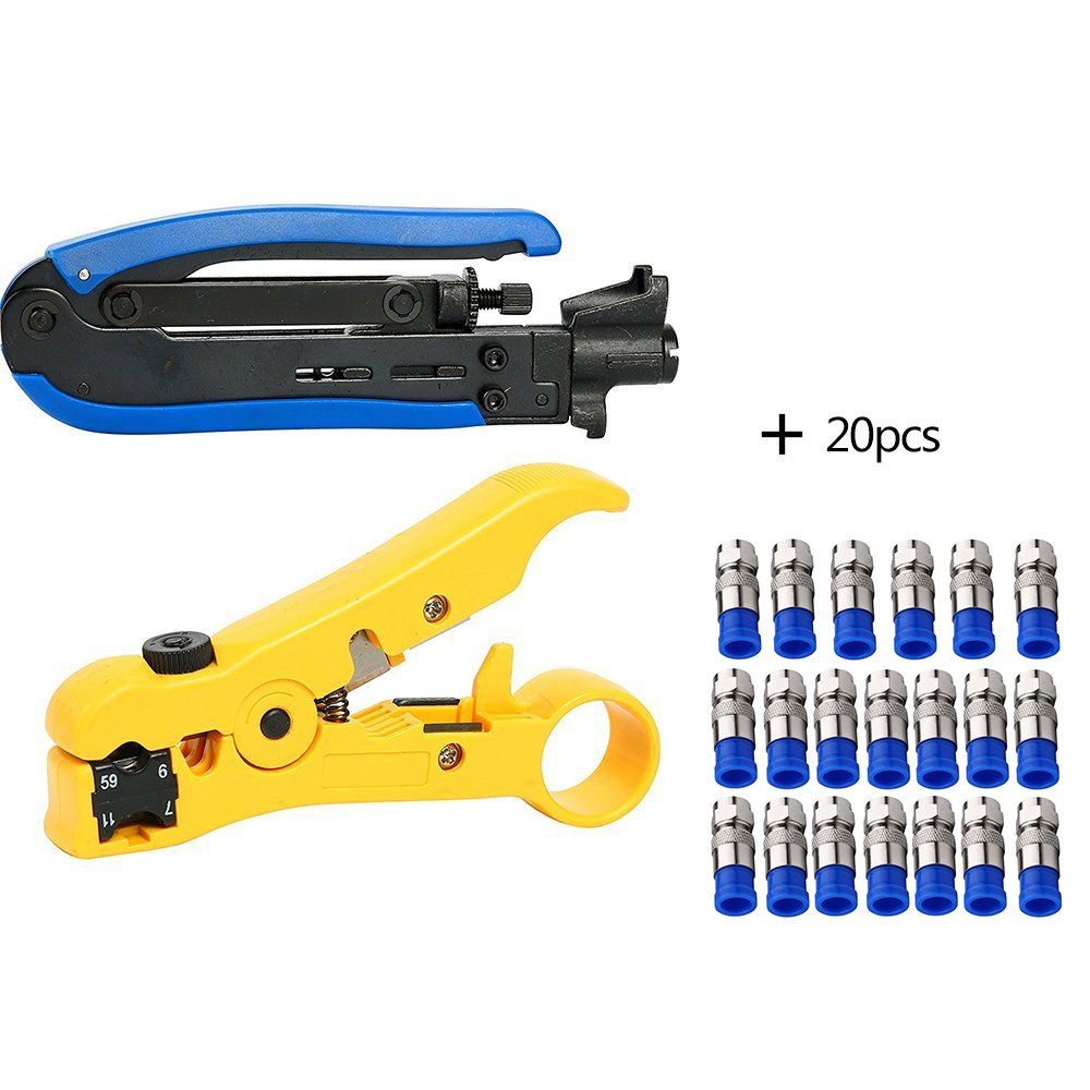 Bestmotoring Compression Tool Coax Cable Crimper Kit, RG6 RG59 RG11 75-5 75-7 Coaxial Cable Stripper Crimper Pliers Stripping Pliers with 20pcs F connectors