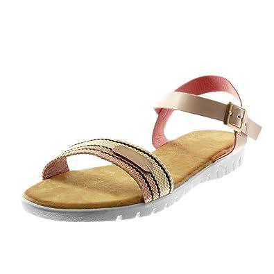 Angkorly Mode Basket Sandale Chaussure Lanière Cheville Bi Semelle dsthQCr