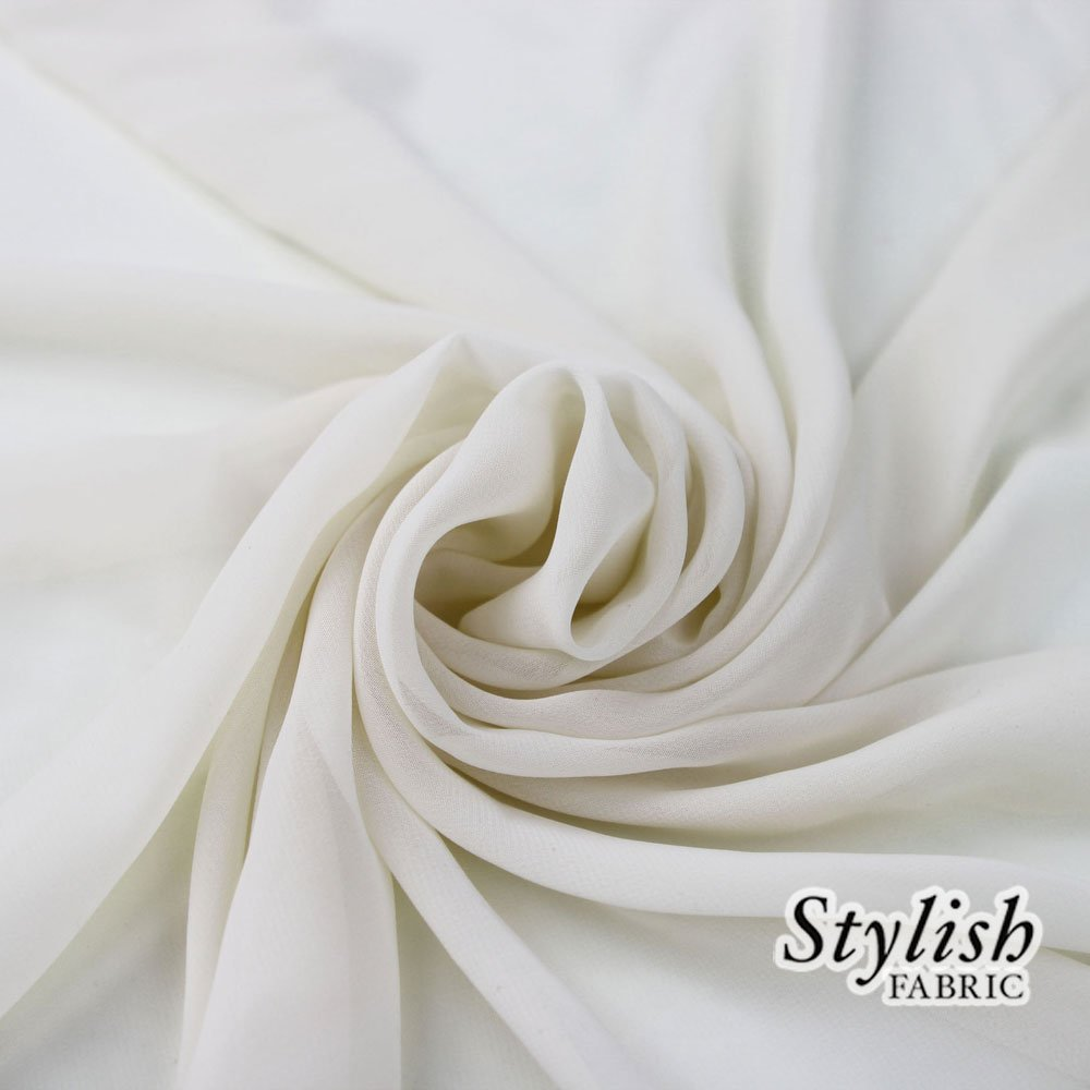 58'' OFF WHITE Solid Color Sheer Chiffon Fabric by the Bolt - 25 Yards by Stylishfabric