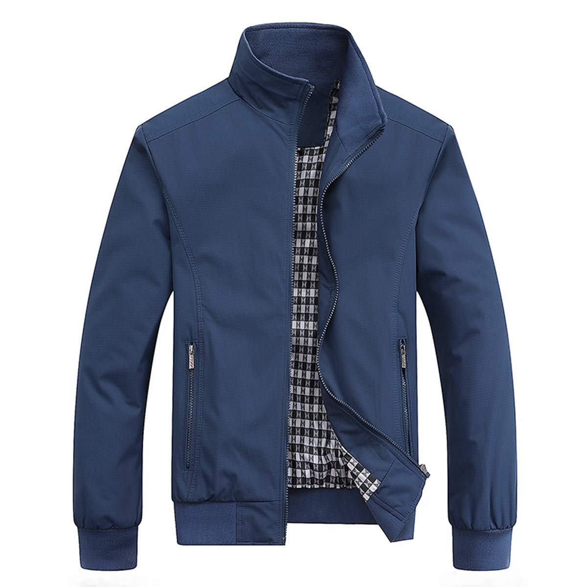 PERDONTOO Men's Casual Jacket Outdoor Windbreaker Lightweight Bomber Jackets (Medium, Blue) by PERDONTOO