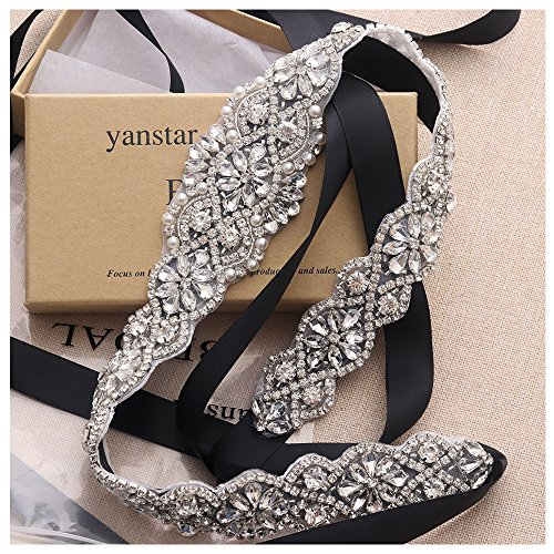 Yanstar Silver Bridal Rhinestone Wedding Belts Hand Crystal Beads Belt Black Sashes For Bridal Gowns