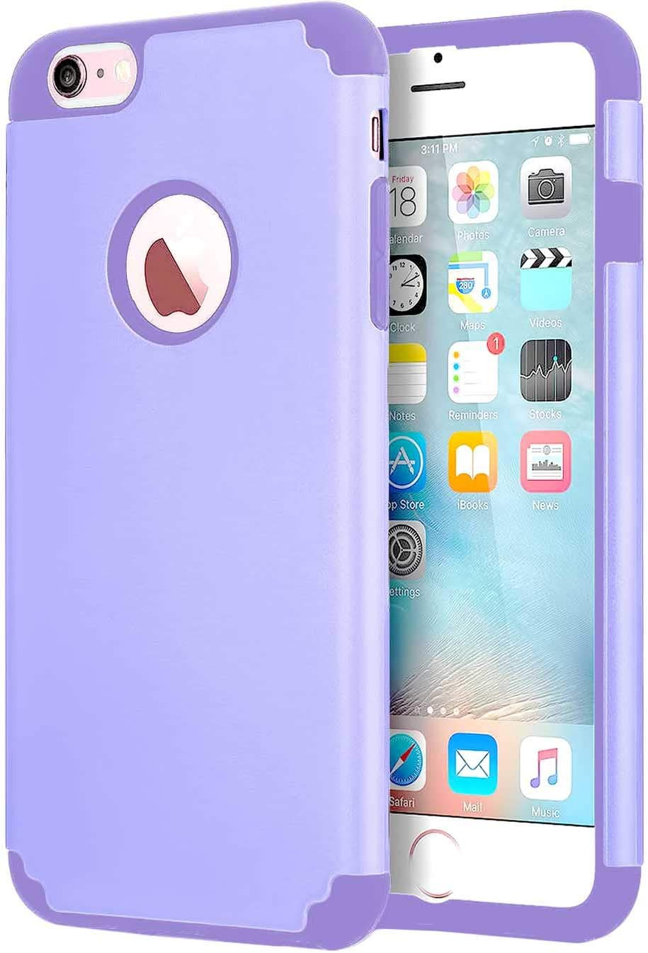 CaseHQ Case for iPhone 6 Plus Case,iPhone 6s Plus 5.5 inch Case,Slim fit Rubber PC Shockproof Cover Case with Heavy Duty Protection Dual Layer Scratch Resistant Phone-Purple