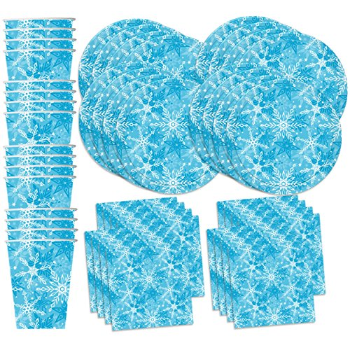 Snowflake Winter Wonderland Birthday Party Supplies Set Plates Napkins Cups Tableware Kit for 16