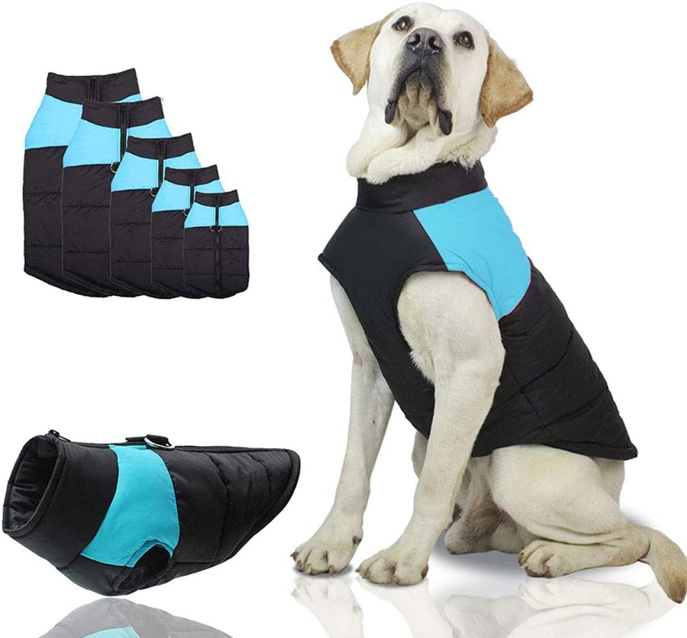 SunteeLong Dog Jackets Dog Clod Weather Coat Waterproof Windproof Warm Dog Vest Cold Weather Pet Apparel for Small Medium Large Dogs Blue M : Kitchen & Dining