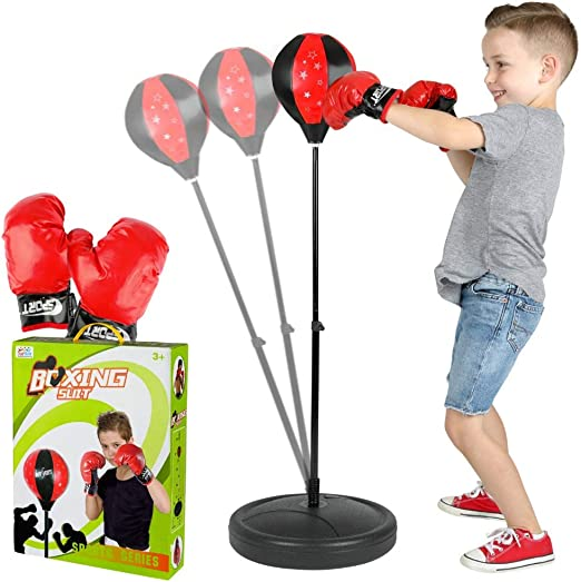 Kids Children Boxing Punching Ball Mat W// Gloves Adjustable Height Xmas Gift Toy