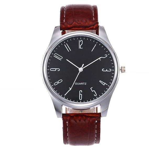 JiaMeng Pulsera del Reloj de Pulsera de Cuarzo de Cuero para Hombre de Negocios Simples de