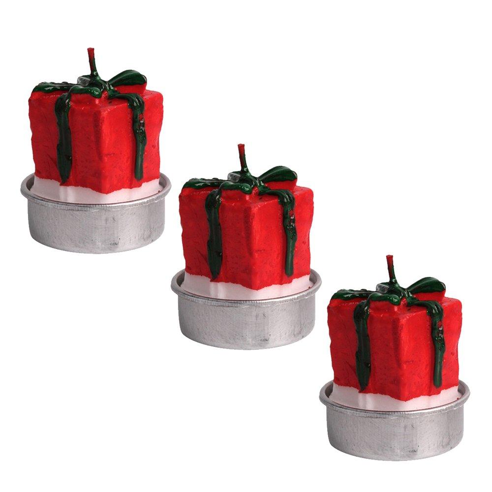 3 Piezas Tealight Velas - Santa Claus cabeza delicada decoración artesanal vela sin humo tealight para feliz Navidad fiesta de Navidad Casa Decor Gosear