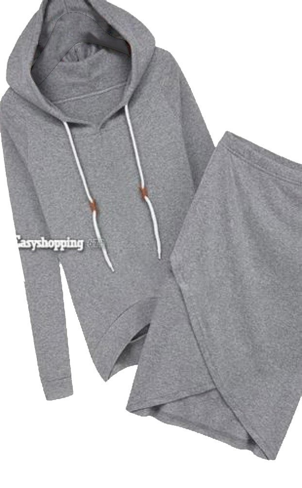 Women Sports Suits Hoodies Tops Pencil Midi Skirts Two-piece