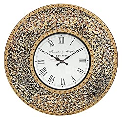 DecorShore 23 Decorative Wall Clock, Silent Clock with Decorative Glass Mosaic, Oversized Wall Clock (Name) (Golden Sands - Gold, Citrine & Chocolate Opal Look)