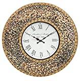 """DecorShore 23"""" Decorative Wall Clock, Silent Clock with Decorative Glass Mosaic, Oversized Wall Clock (Name) (Golden Sands – Gold, Citrine & Chocolate Opal Look) For Sale"""